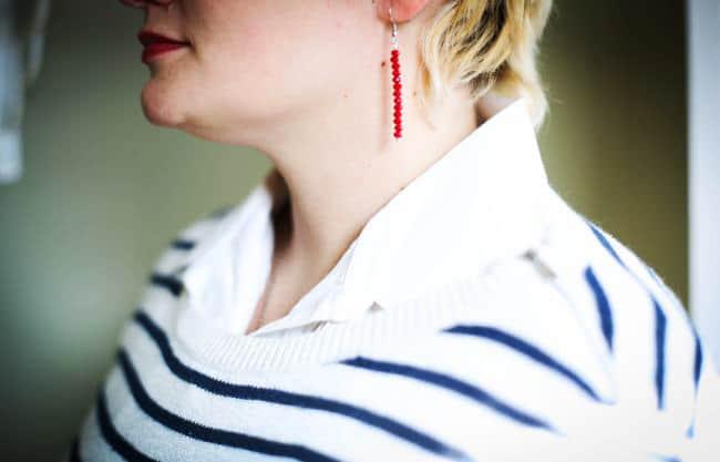 DIY red bead earrings | Henry Happened