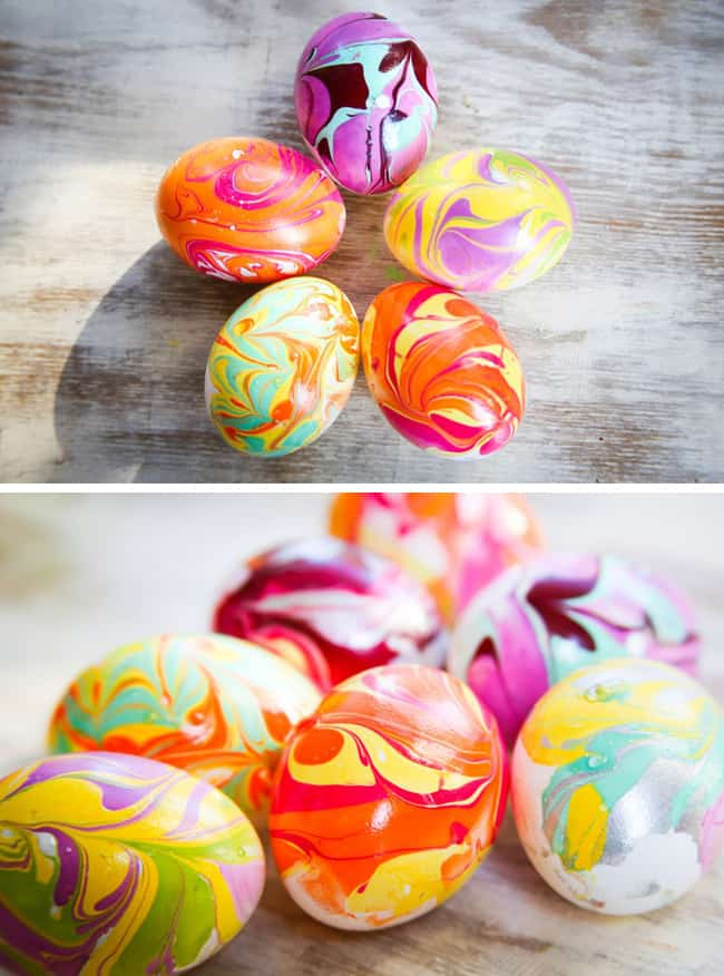 DIY Marbled Eggs with Nail Polish