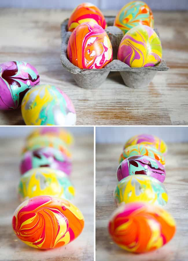how to marble easter eggs with nail polish