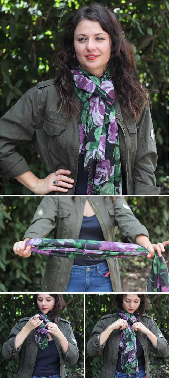 Classic Loop Through | 13 Ways to Tie a Scarf | HelloNatural.co