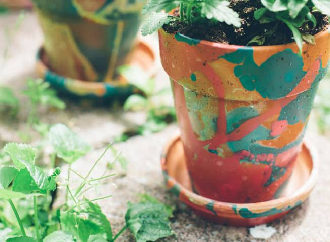 Nail Polish Marbled Planters | Henry Happened