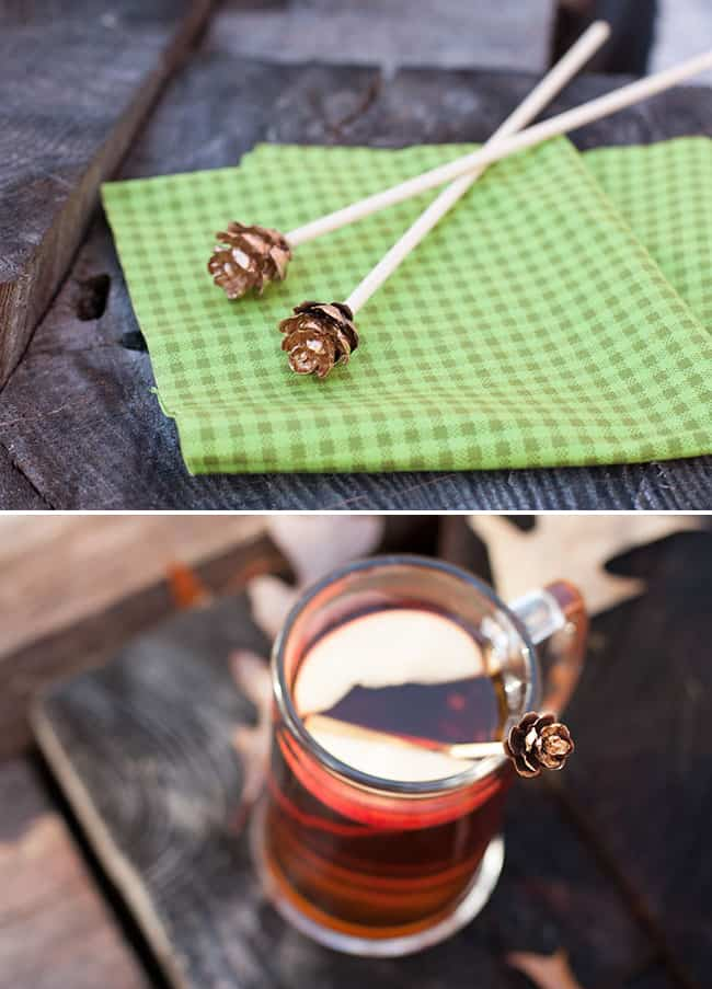 DIY Gold Leaf Pine Cone Drink Stirrers | Henry Happened