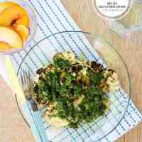 Grilled Cauliflower Steaks with Chimichurri | HelloNatural.co