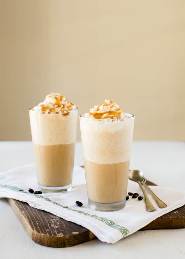 Caramel iced coffee frappe