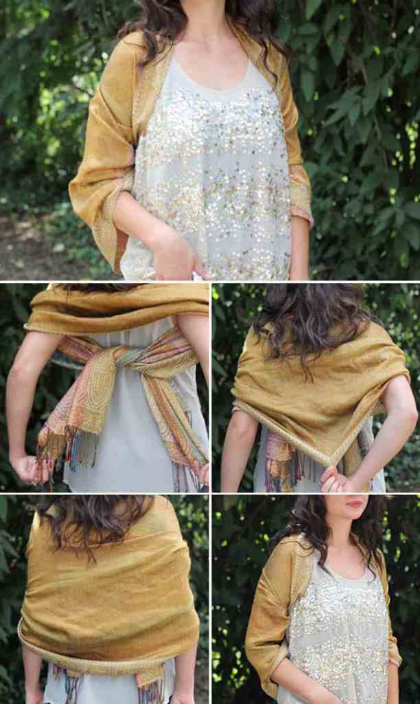 Knotted Shawl | 13 stylish ways to tie a scarf | HelloNatural.co