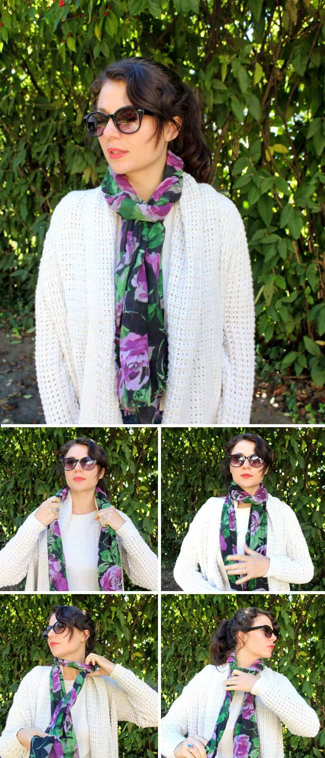 Rolled Loop | 13 stylish ways to tie a scarf | HelloNatural.co