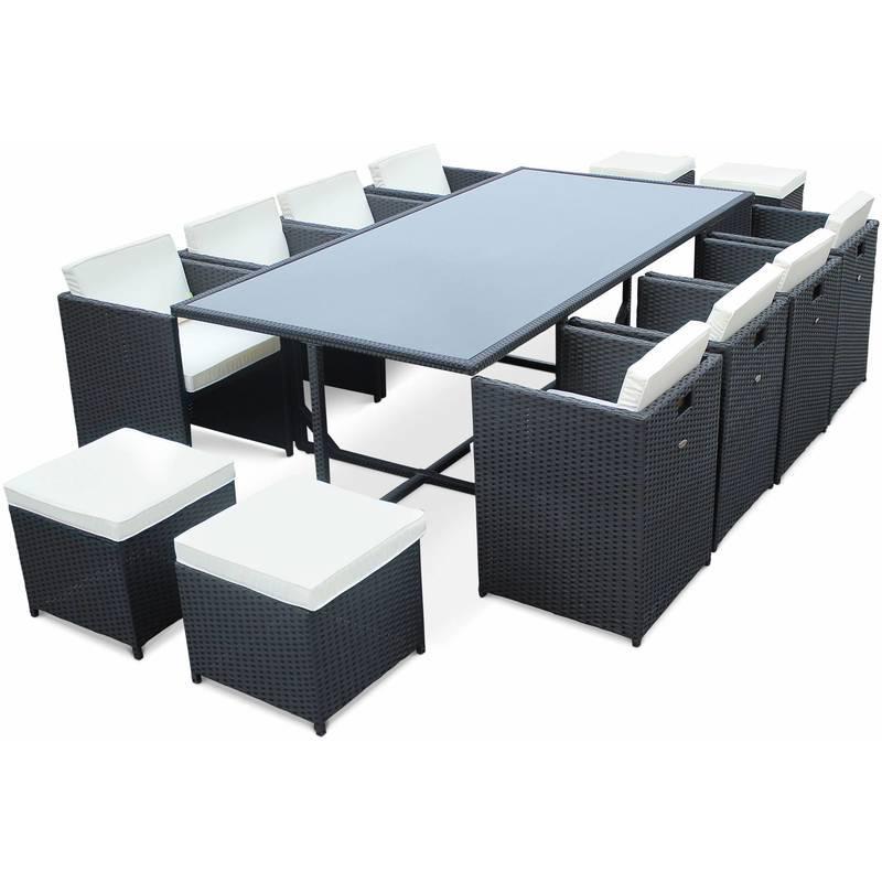 Table Et Fauteuils De Jardin Encastrables En Résine Tressée 12 ...