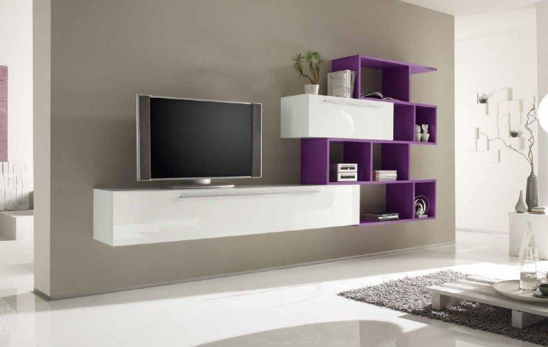 Meuble Tv Mural Suspendu Meuble Tv Design Primera Shelf Blanc Brillant Et Lilas