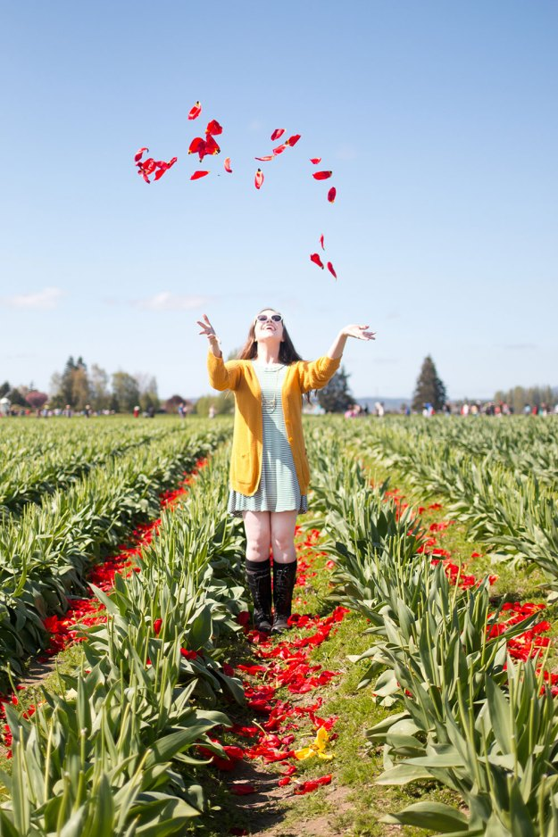 Tossing Petals at Skagit Valley Tulip Festival // Hello Rigby Seattle Fashion & Style Blog