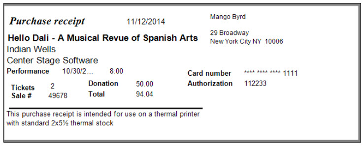 How to print a ticket, so that it prints a receipt on the next