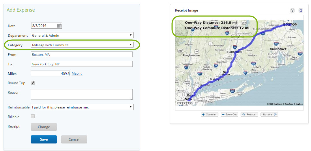 Creating a Mileage Expense with Commuter Miles \u2013 Certify Help Center
