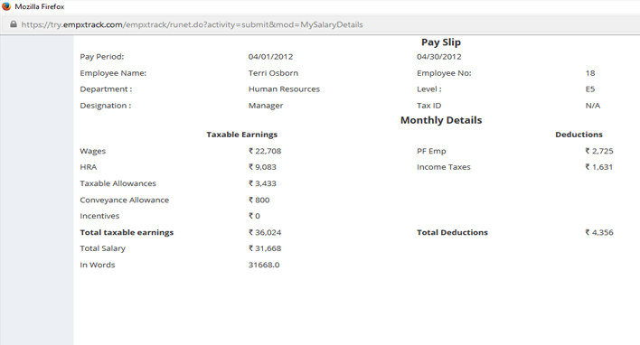 View Pay Slip and Salary Details - payroll slip