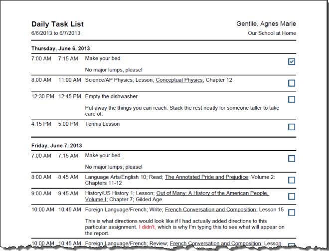 HSTOnline User Guide - Daily Task List