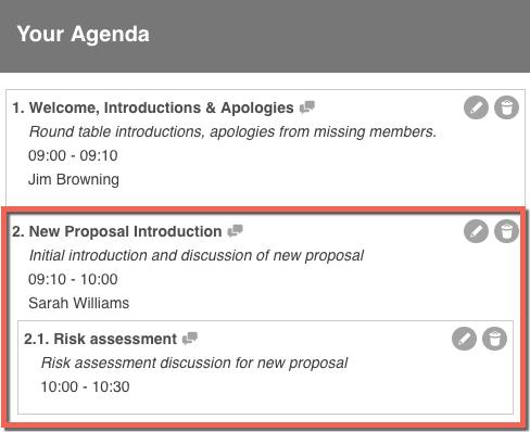 How to Add a Custom Agenda / Conversation Item \u2013 IntelligenceBank - how to create a agenda