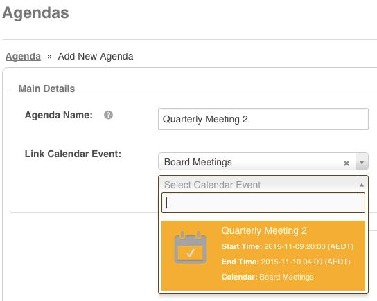 How to Link an Agenda to a Calendar Event \u2013 IntelligenceBank HelpDesk
