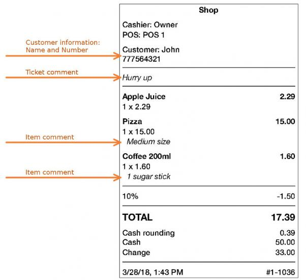 Information about the Customer and Notes in the Receipt - Loyverse Help