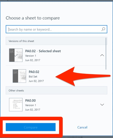 Comparing Sheets \u2013 PlanGrid