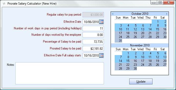 Using the Prorated Salary Calculator