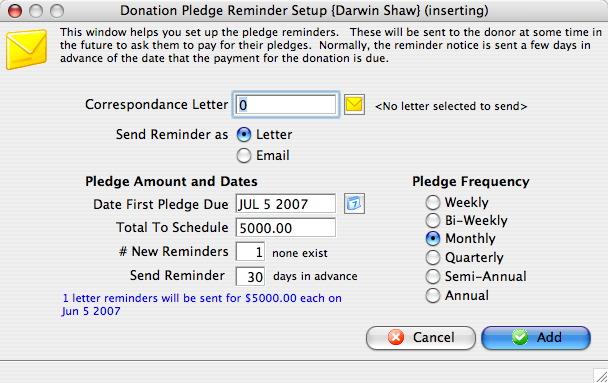 Pledged Donations