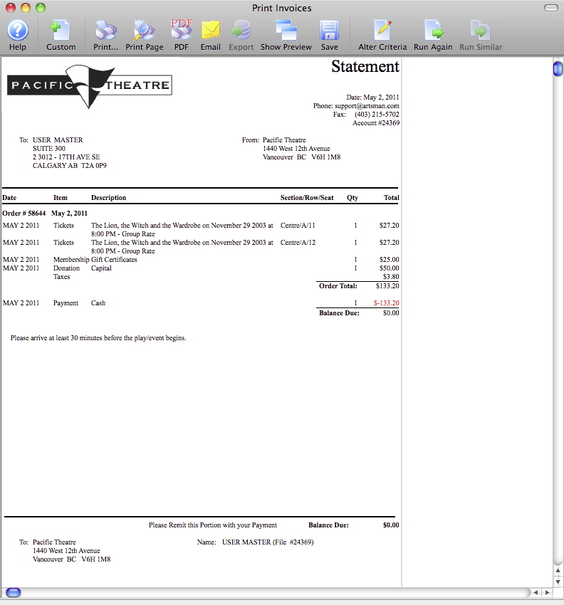 Emailing Invoices Arts Management Systems - Invoice Print