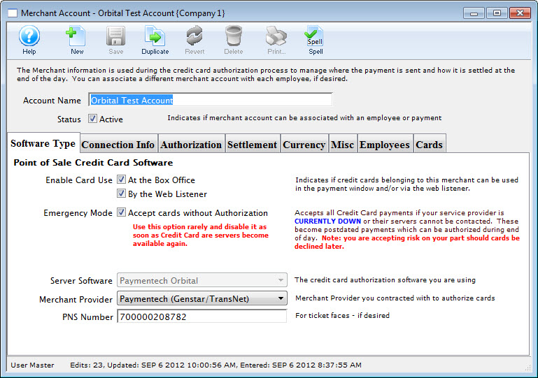 Enabling Credit Card Authorization in Theatre Manager Arts - authorization to use credit card