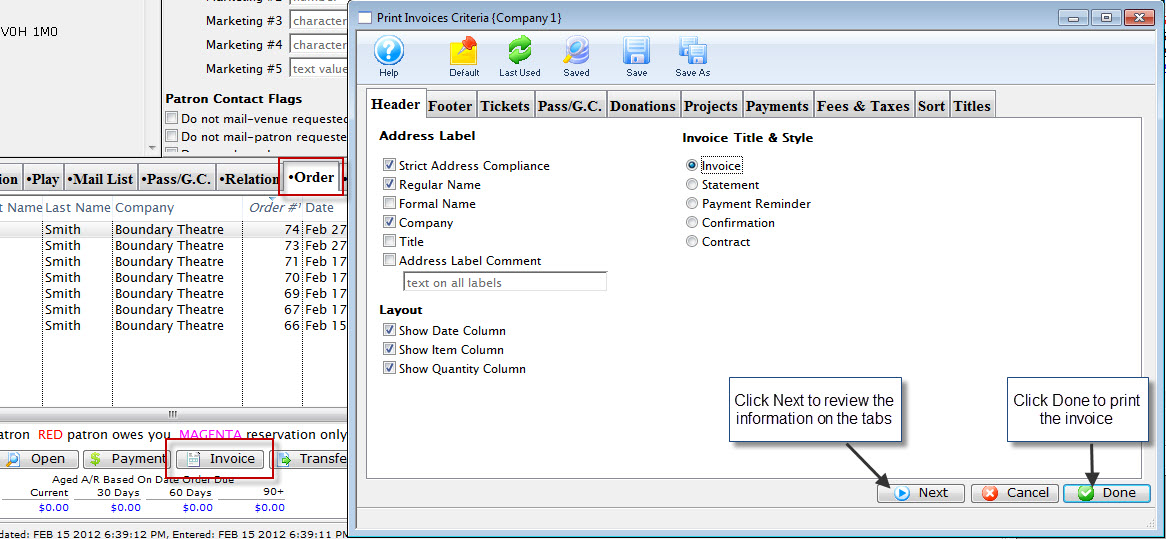 Printing an Invoice and Adding the Comments Arts Management Systems