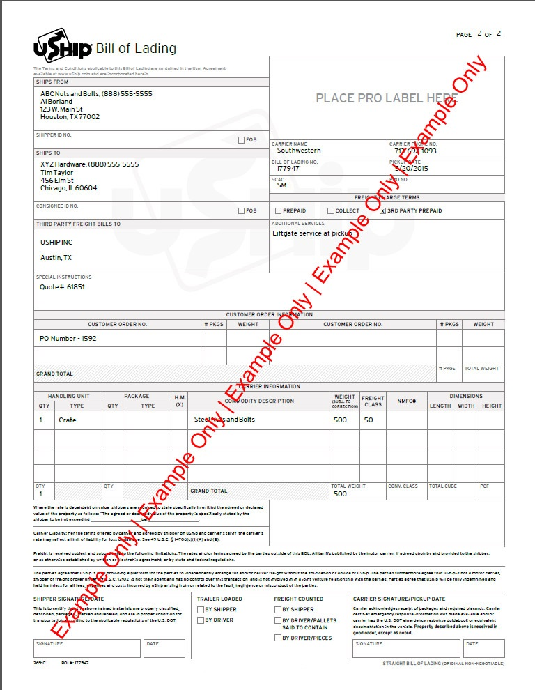 Bill Of Lading (BOL) - uShip LTL Published Rates \u2013 Help Center - shipping bol