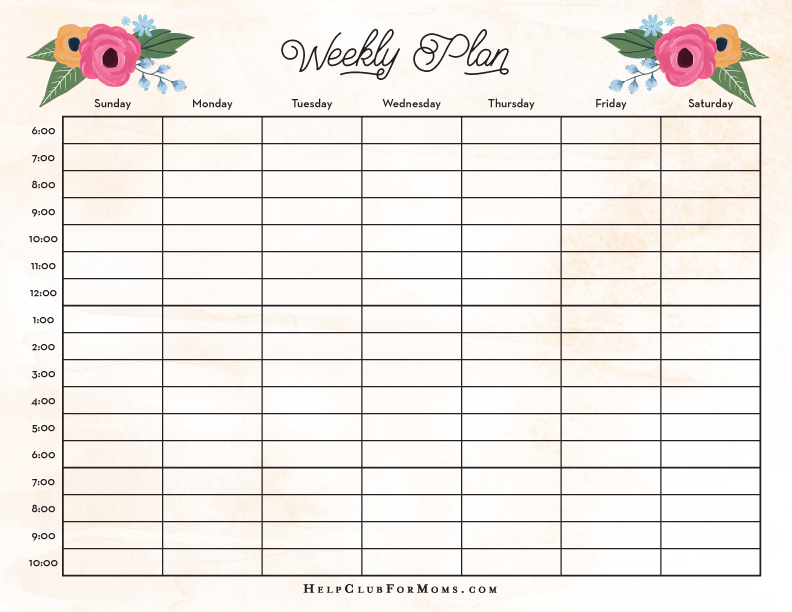 weekly timetable templates