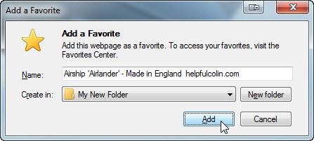 Add a favourite in My New Folder