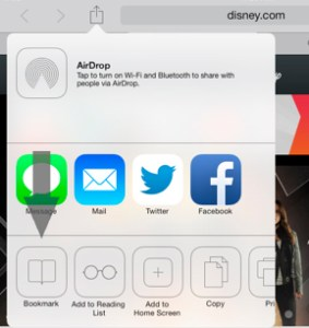 Add Bookmark Safari iOS 7