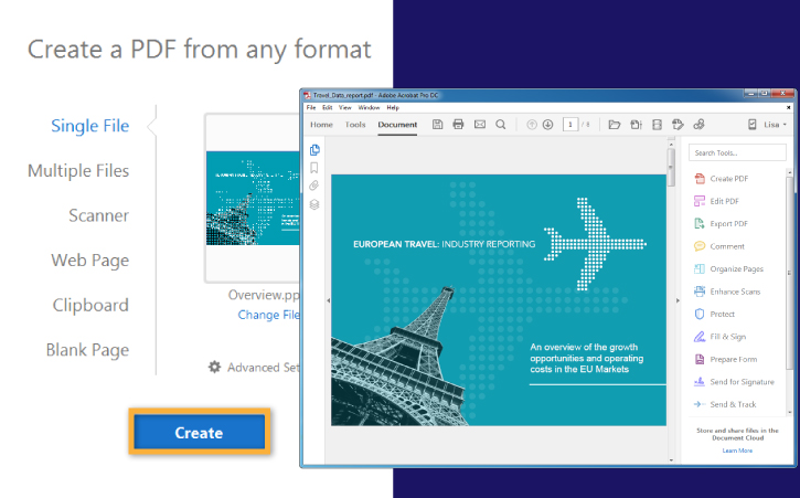 Create a PDF file from Word, Excel, or a website in Adobe Acrobat
