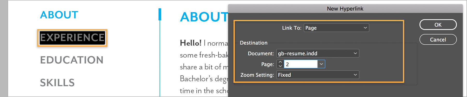 How to create an interactive resume Adobe InDesign tutorials