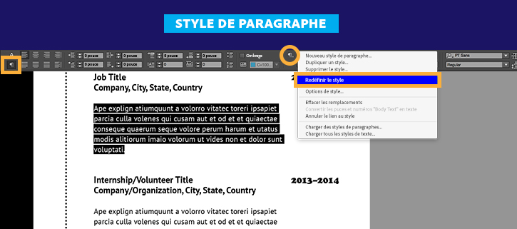 faire un cv sur adobe indesign