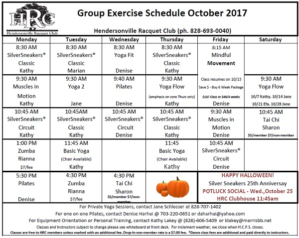 HRC Monthly exercise calendar 2017 10