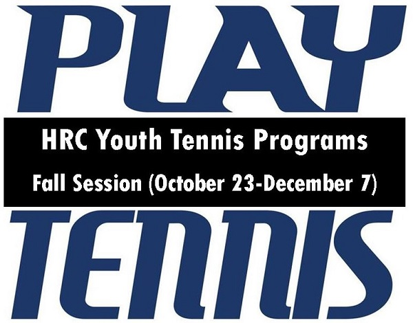 YOUTH TENNIS CLASSES START OCTOBER 23 FOR AGES 4-18
