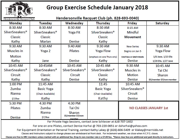 HRC Monthly exercise calendar 2018 01