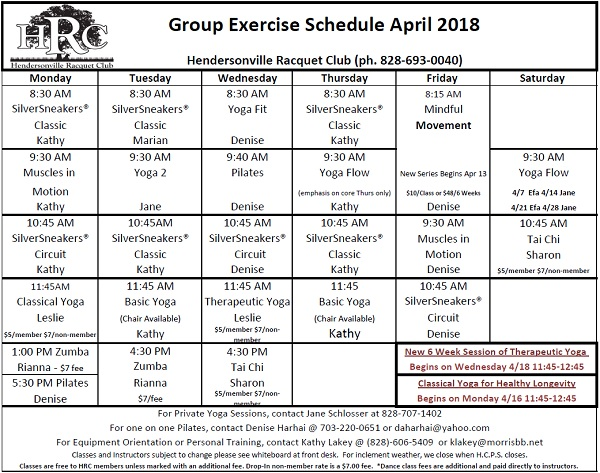 HRC Monthly exercise calendar 2018 04