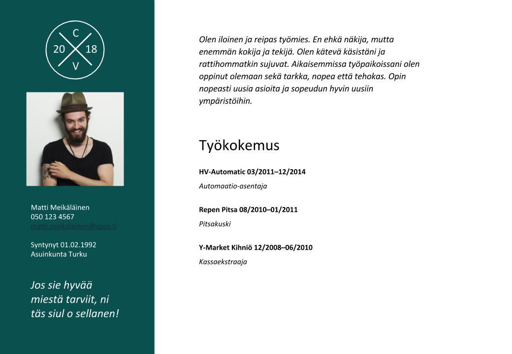 Ansioluettelo eli CV sekä mallipohja Henkilöstötalo