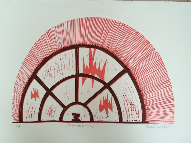 Linoliumstryk af Henrik Bruun
