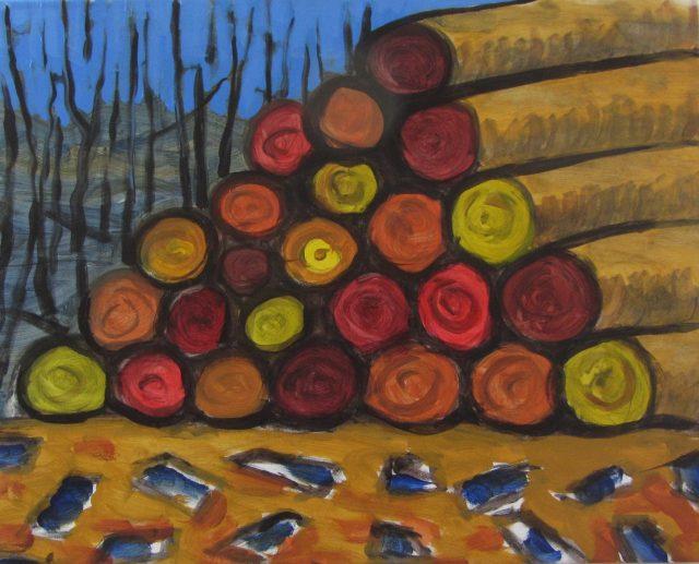 Skovning af Henrik Bruun, akryl på lærred, 56 x 70, 2015