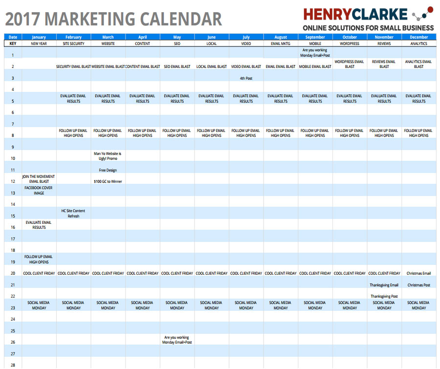 Marketing Calendar Affordable Small Business Websites in Dayton, Ohio