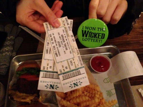 My sister and I won $30 orchestra seat tickets to Wicked!