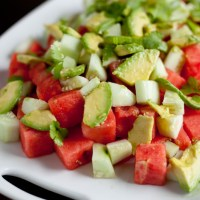 Watermelon, Avocado, and Cucumber Salad