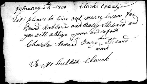 Marriage License Request- Edward Roberts and Rosy Stewart, 24 February 1800. From a cousin many years ago, unknown source- likely Clark County, Kentucky Records.