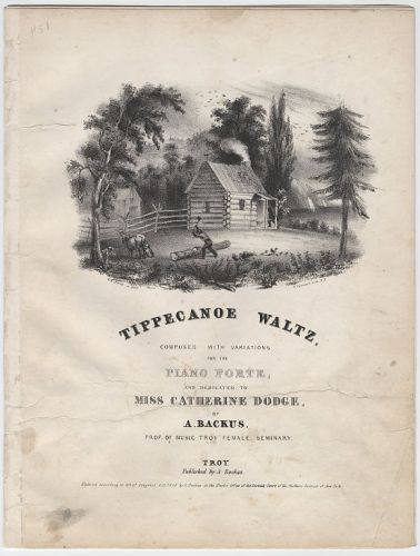 """""""Tippecanoe Waltz"""" sheet music. Cornell University Collection of Political Americana, with kind permission of Cornell University Library; no restrictions."""