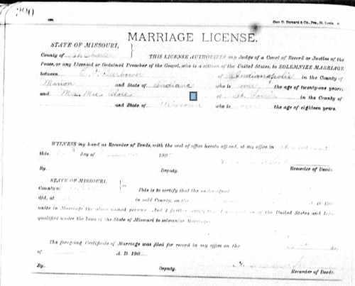 """Marriage record of E.P. Beerbower and """"Mrs. Mae Clore,"""" 26 December 1908, via Ancestry.com."""