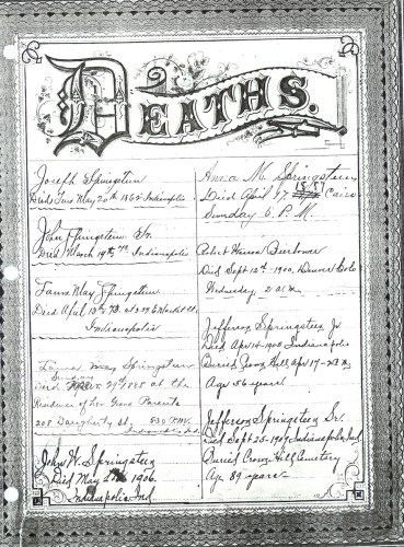 Page4 of Springsteen Bible Family Records- Deaths. (Click to enlarge.)
