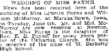 Wedding announcement for Lynette Payne-William McMurray wedding in The Oakland Tribune, 22 June 1899.