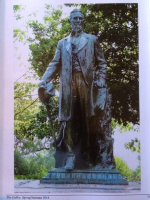 Ezra Cornell statue at Cornell University, Ithaca, NY was dedicated in 1918 after WWI.
