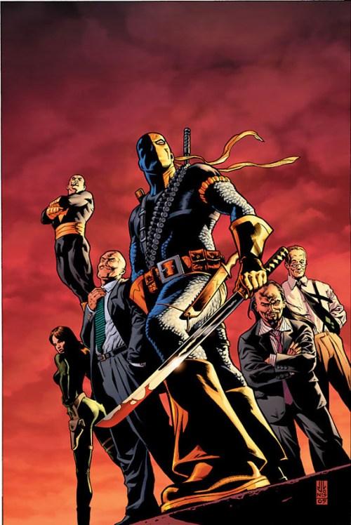 From left: Talia, Black Adam, Lex Luthor, Deathstroke, Dr. Psycho, Calculator.